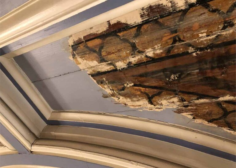 Historic ceiling panels discovered by restoration experts at Maison Dieu in Dover