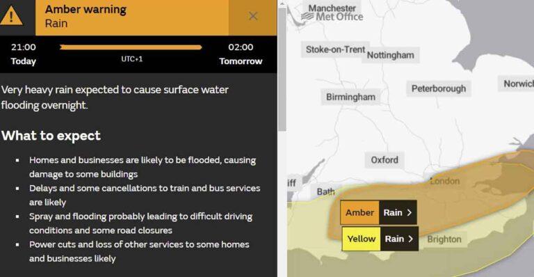 Weather warning of flood risk to Kent tonight!